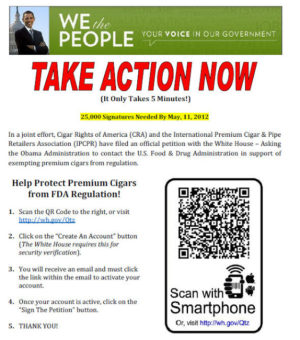 QR Code for White House Petition: Not Allow the FDA To Regulate Premium Cigars