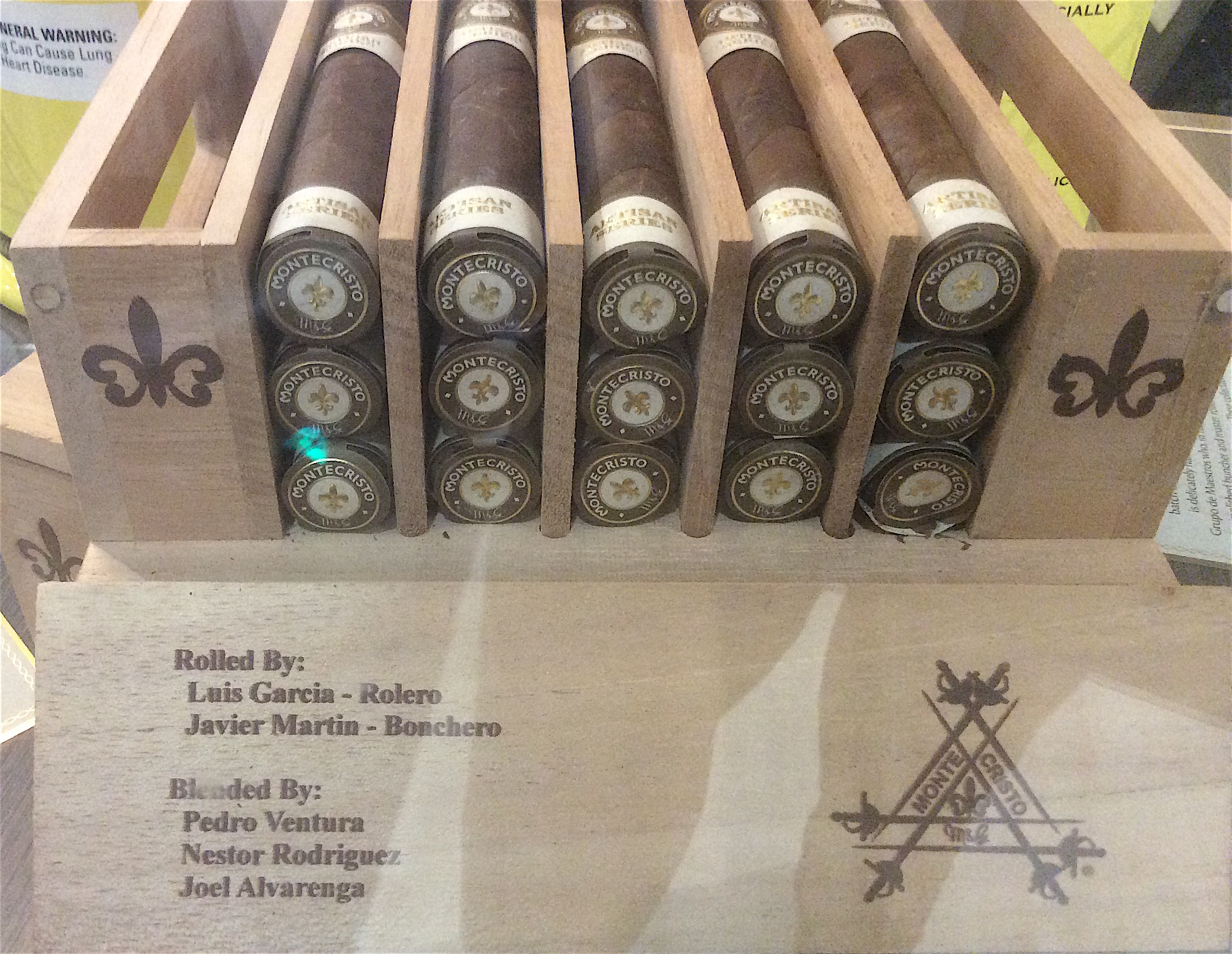 Close up of the box of the Montecristo Artisan Series Batch 1