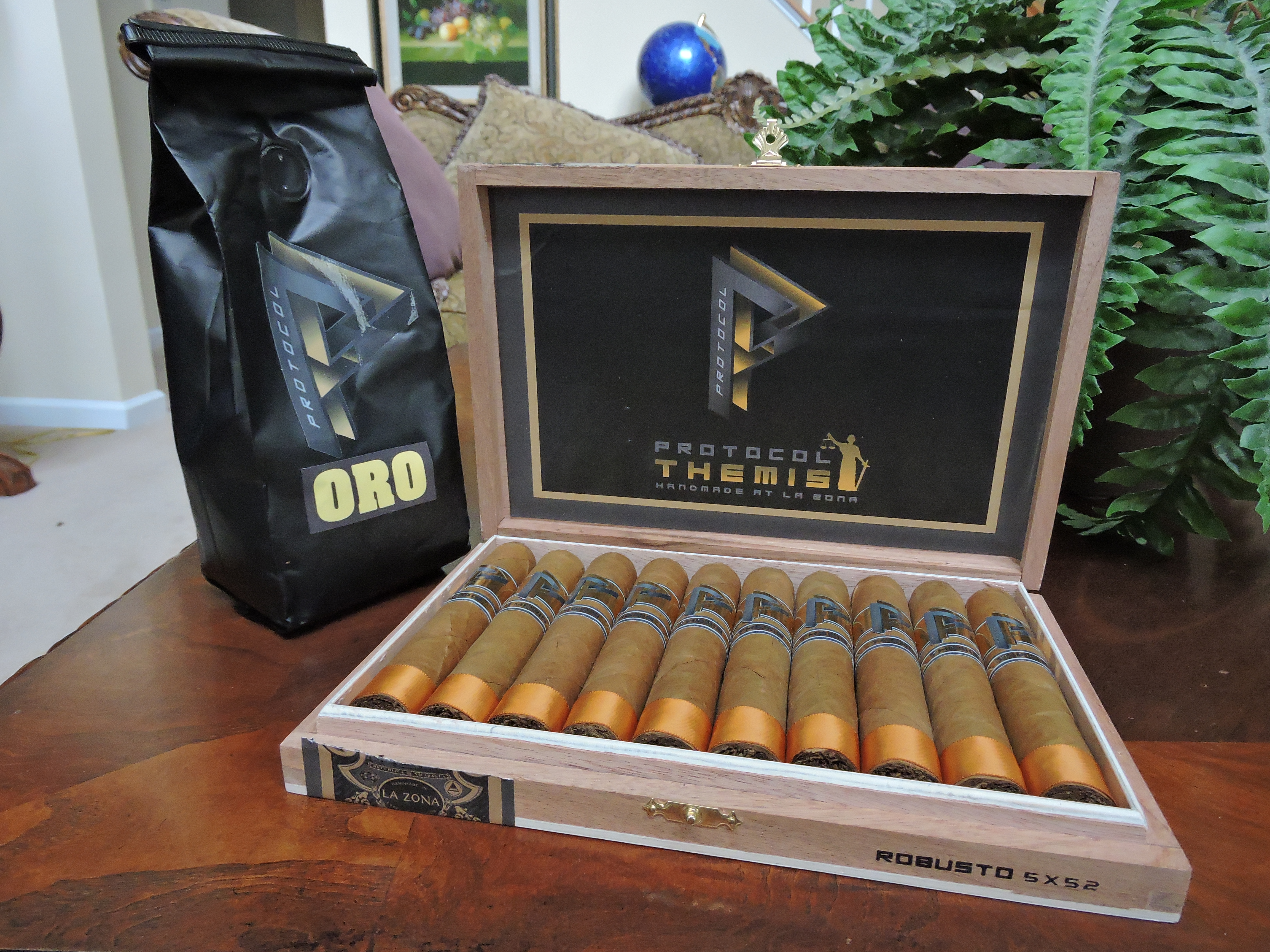 Protocol Themis Robusto Box and Oro Coffee Bag