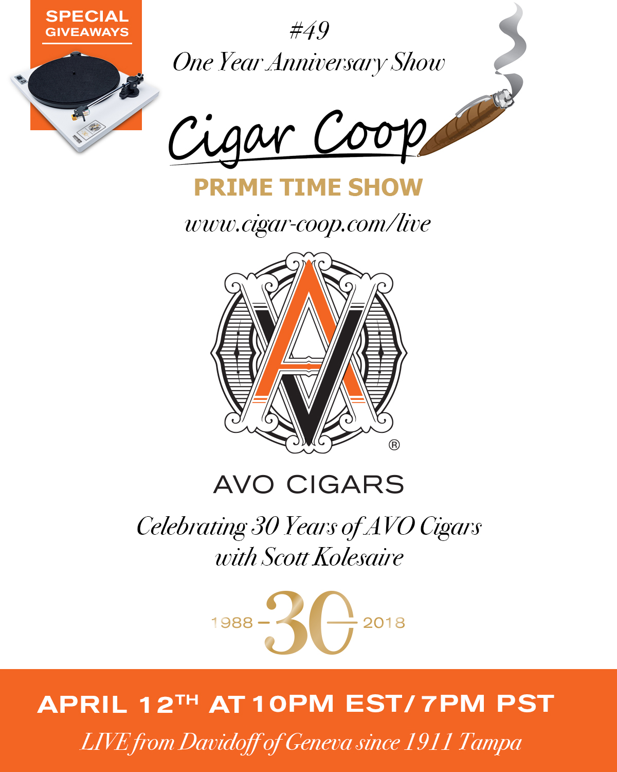 Announcement: Prime Time Show Episode 49 – One Year Anniversary Show w/ Scott Kolesaire AVO Cigars | Giveaways