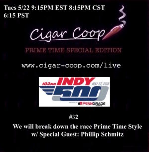 Announcement: Prime Time Special Edition #32 – The 2018 Indianapolis 500 Preview Show with Phillip Schmitz