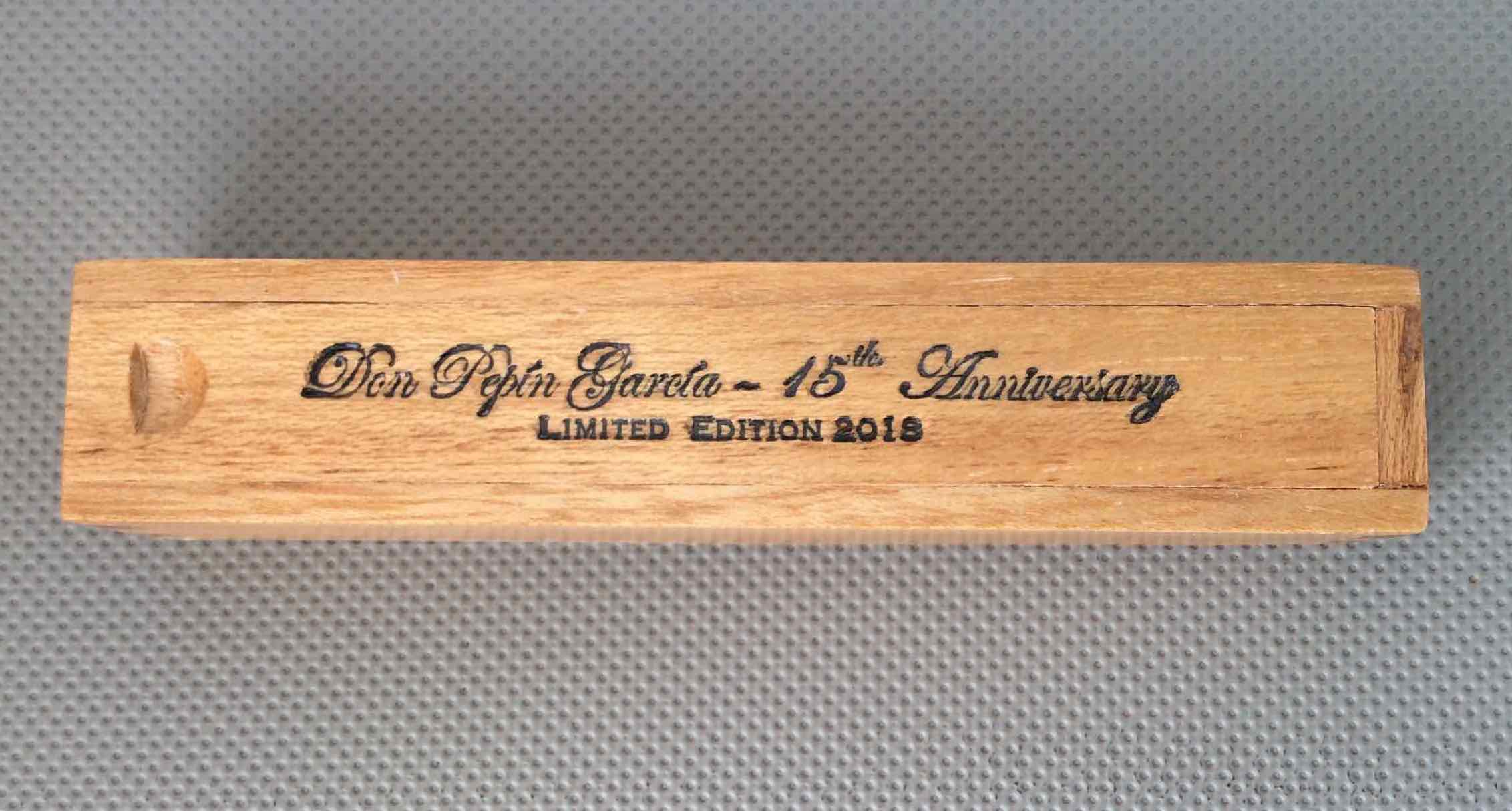 Coffin packaging of the Don Pepin Garcia 15th Anniversary Limited Edition 2018 Robusto