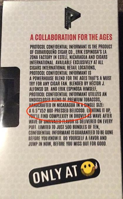 Protocol Confidential Informant by Cubariqueño Cigar Company - Back