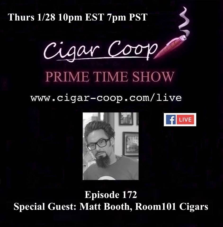 Announcement: Prime Time Episode 172 – Matt Booth, Room101 Cigars