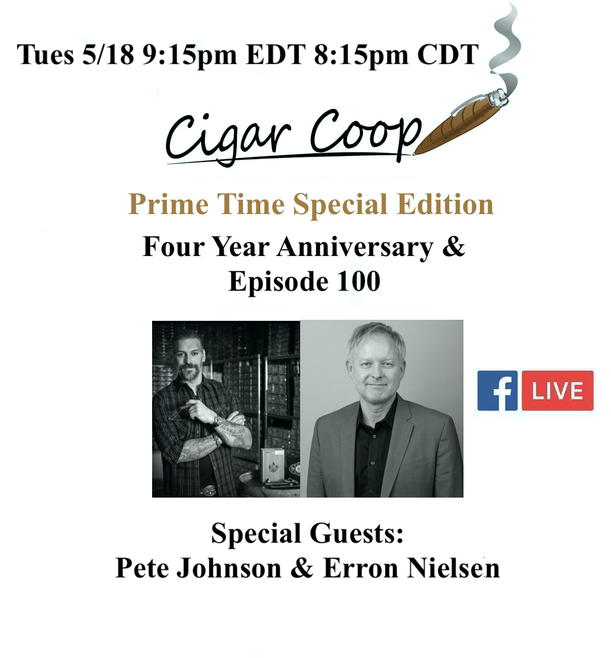 Announcement: Prime Time Special Edition 100 – Four Year Anniversary Show with Pete Johnson & Erron Nielsen