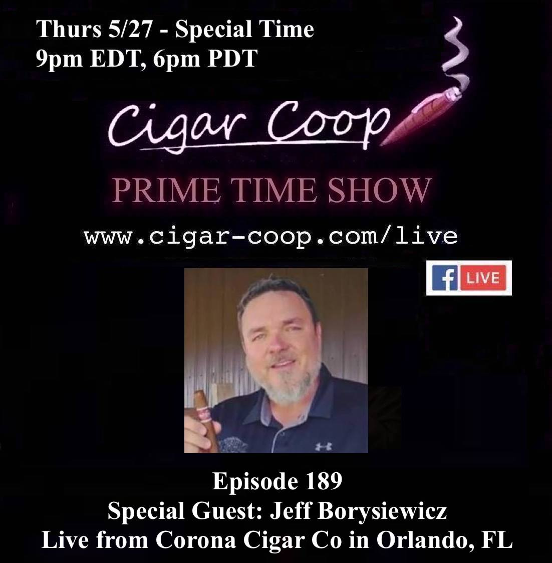 Announcement: Prime Time Episode 189 – Jeff Borysiewicz – Live from Orlando, 9pm ET/6pm PT