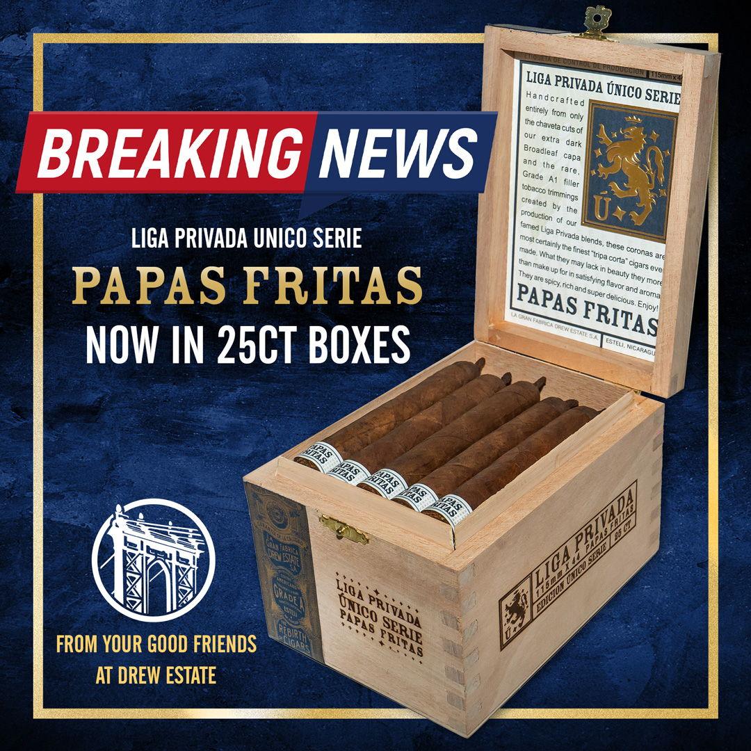 Cigar News: Drew Estate Moves Papas Fritas to 25-Count Boxes