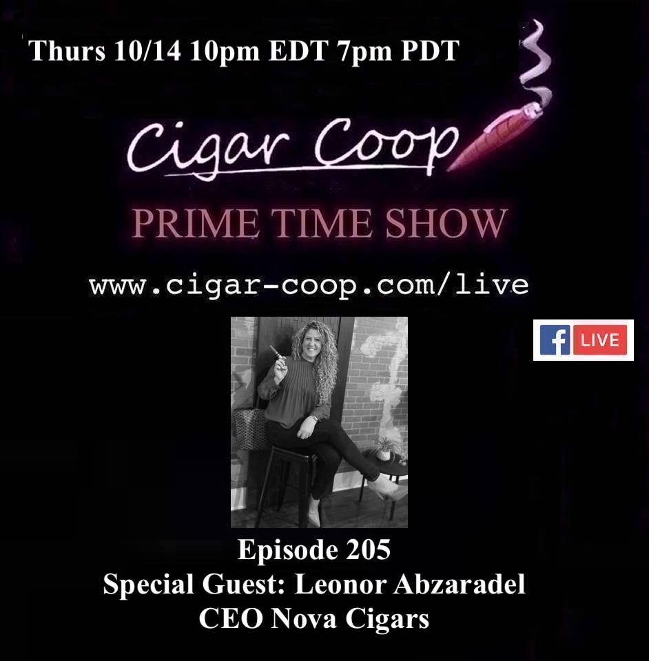 Announcement: Prime Time Episode 205 – Leonor Abzaradel, Nova Cigars
